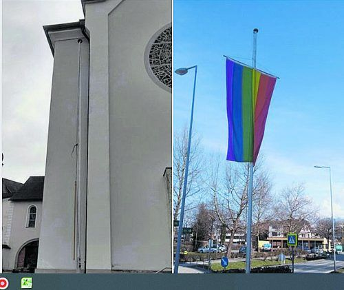 Verschwunden: die Regenbogenfahne bei der Kirche Altenstadt. PFARRE ALTENSTADT