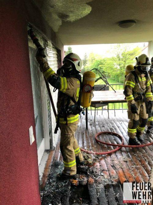 Am Einsatz waren unter anderem die Feuerwehr Hard mit 30 Mann und auch die Feuerwehr Höchst beteiligt. FEUERWEHR HARD
