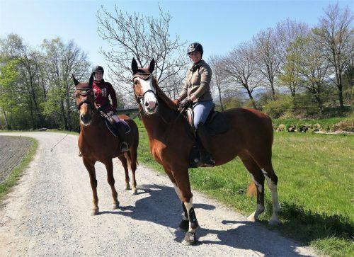 Aus erhöhter Perspektive genossen die beiden Reiterinnen den Frühling in der Riedlandschaft.eh