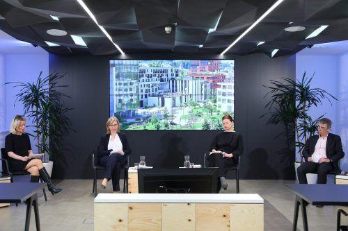 Bauen für klimaneutrale Zukunft hieß das Thema der Online-Diskussion mit BM Leonore Gewessler.APA-Fotoservice/Schedl