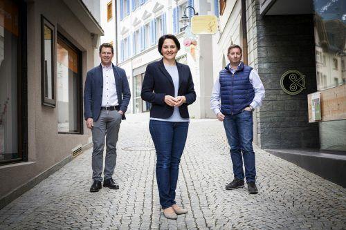 Das neue VP-Führungstrio im Montafon: Landtagsvizepräsidentin Monika Vonier sowie Bürgermeister Daniel Sandrell und Bio-Landwirt Thomas Ganahl.VP