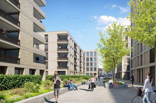 Das Vierlinden-Quartier besticht durch viel Grün und öffentliches Wegenetz. FA