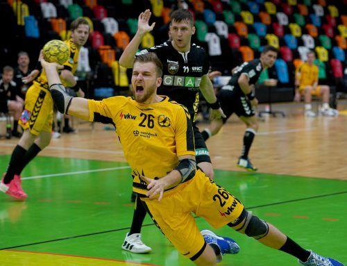Der gebürtige Steirer Florian Mohr wurde nicht zuletzt wegen seiner sechs Tore beim 33:22-Erfolg zum Spieler des Abends auf Seiten der Bregenzer gewählt. GEPA