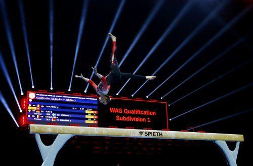 Die Deutsche Sarah Voss setzte ein Signal für Ästhetik im Frauenturnsport, ohne sich unwohl zu fühlen.AFP