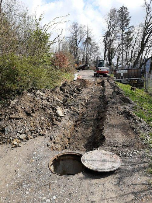 Die ersten Grabungen für die Wasserleitungen beginnen.Wildpark