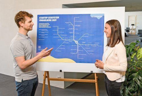 Julia Grahammer und Christof Flachsmann von Startupland Vorarlberg zeigen, welche Anlaufstellen und Angebote es für Start-ups gibt. Startupland/E.Sutter