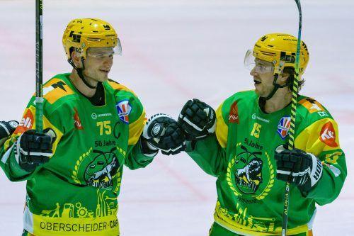 Kongeniales Duo: Max Wilfan und Chris d'Alvise waren in dieser Saison für 50 Lustenauer Tore verantwortlich.Stiplovsek