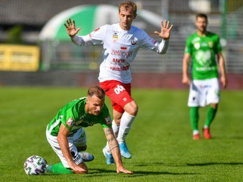 Matthias Maak und seine Kollegen bei Austria Lustenau dürfen sich gegen Rapid Wien Amateure im Kampf gegen den Abstieg nicht noch einen Ausrutscher leisten.gepa