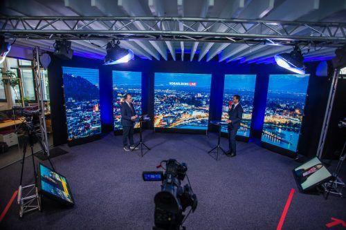 Modernste Technologie ermöglicht Liveschaltungen mit bis zu vier Personen ins Studio. Vorarlbergs hochauflösendste LED-Wand soll im Juni montiert werden.  VN/Steurer
