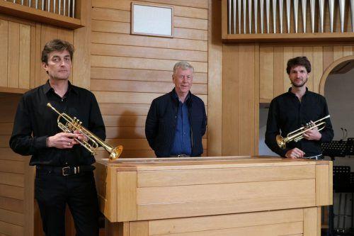 Patrik Haumer, Siegfried Tschofen und Christian Sonderegger gestalten die Ostermesse in der Friedenskirche musikalisch.N. Engstler
