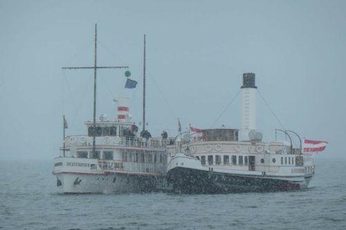 Rückkehr der Hohentwiel nach Hard – Seite an Seite mit dem Schleppschiff Oesterreich – ist symbolisch für die neue Struktur.DIETH