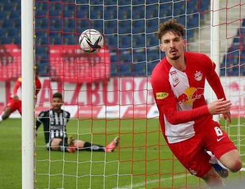 Salzburgs Mergim Berisha gelang gegen den LASK der zehnte Saisontreffer.apa