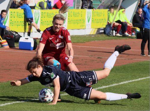 Vorarlberg gegen Wien hieß es in der Frauen-Bundesliga, für Austria Wien/Landhaus lief unter anderem die Hörbranzerin Annalena Wucher (M.) auf.Luggi Knobel