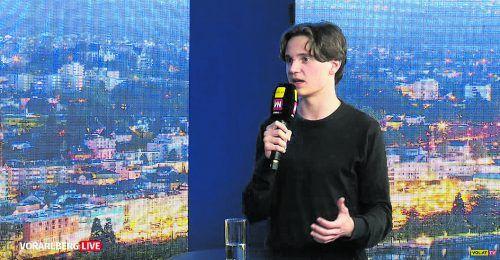 """AHS-Landesschulsprecher Maximilian Kubesch war Gast bei """"Vorarlberg live"""". Der Dornbirner ist zwar erst 16, aber schon Maturant."""
