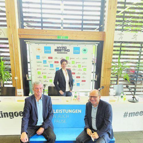 Alexandra Giesinger, Hans Aberer (l.) und Walter Weber richten unter erschwerten Bedingungen das Hypomeeting 2021 aus. Weltmeister Niklas Kaul kommt zum dritten Mal nach Götzis. ko