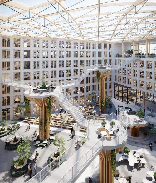 Am Berliner Südkreuz entsteht ein völlig neuer Stadtplatz mit Büro- und Geschäftsgebäuden in innovativer Holz-Hybrid-Bauweise.CREE GmbH