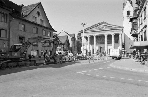 Bauarbeiten in Richtung Marktplatz.