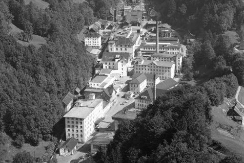 Das Areal von F.M. Hämmerle in Dornbirn in einer historischen Aufnahme.Landesbibl.