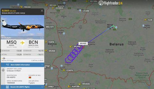 Das Flugzeug drehte zunächst Schleifen, dann steuerte es wieder Minsk an. Ein Grund wurde nicht bekannt gegeben. flightradar24