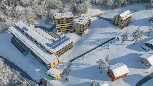 Das imposante Tourismusprojekt umfass neben einem großen Hotelkomplex, drei Chaletgebäude, eine Zubruingerseilbahn sowie eine Skiwiese.