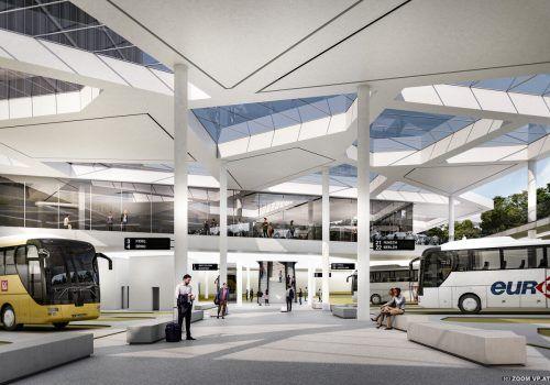 Der Terminal ist zweigeschossig.