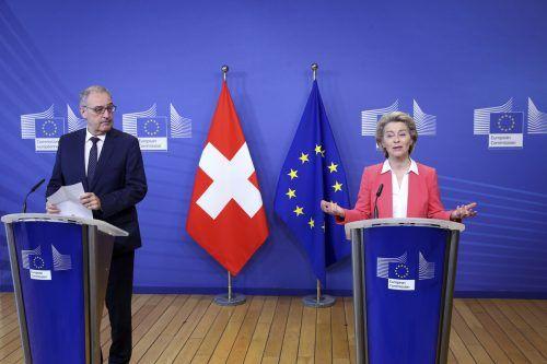 Die Beziehung zwischen EU-Kommissionspräsidentin Ursula Von der Leyen und dem Schweizer Präsident Guy Parmelin wird schwieriger. AP