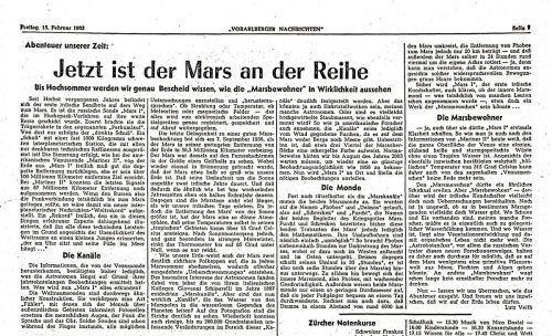 Die VN berichteten 1963 über eine sowjetische Marsmission