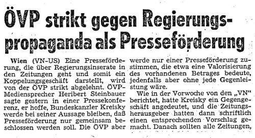 Die VN berichteten 1981 über den ÖVP-Standpunkt zu Regierungsinseraten.