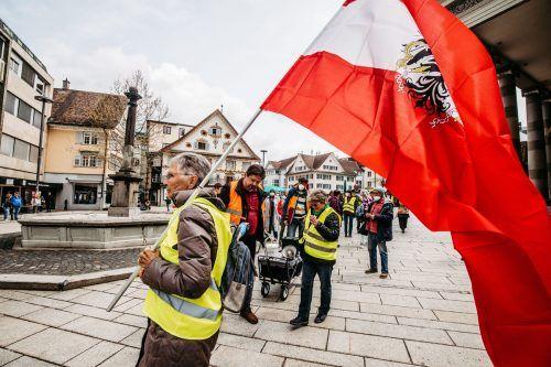 Die Zahl der Demo-Teilnehmer nimmt ab: Am Sonntag waren es noch 70 Menschen. VN/Sams