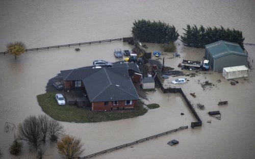 Extreme Regenfälle führten im Süden Neuseelands zu starken Überschwemmungen. ap
