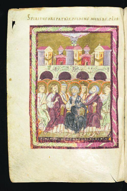 Fast 1000 Jahre alt ist diese Darstellung des ersten Pfingsttags. Die Handschrift umfasst 798 Seiten und wird in der St. Galler Stiftsbibliothek verwahrt. SB St. Gallen