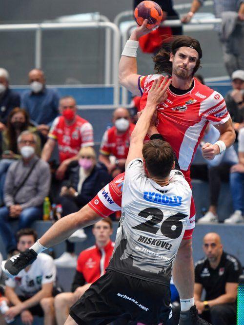 Hard-Scharfschütze Ivan Horvat übernahm in der Schlussphase viel Verantwortung und erzielte wichtige Tore beim 35:31-Erfolg im ersten Halbfinalduell.GEPA