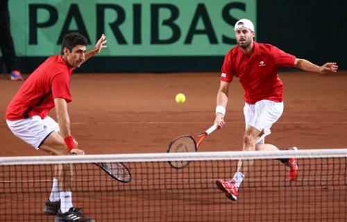 Im Februar 2019 agierten Philipp Oswald (l.) und Oliver Marach im Daviscup-Duell gegen Weißrussland in St. Pölten letztmals gemeinsam auf einer Platzhälfte. GEPA