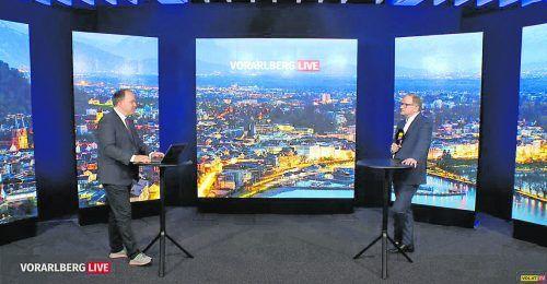 Im Gespräch mit VN-Chefredakteur Gerold Riedmann äußerte sich Nationalrat Karlheinz Kopf (r.) auch zur Causa Bundeskanzler.vn