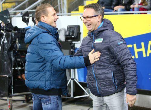 Im Oktober 2016 waren sich Damir Canadi (rechts) und Jochen Fallmann noch in St. Pölten gegenübergestanden, am Samstag coacht Letzterer die Austria Wien.gepa