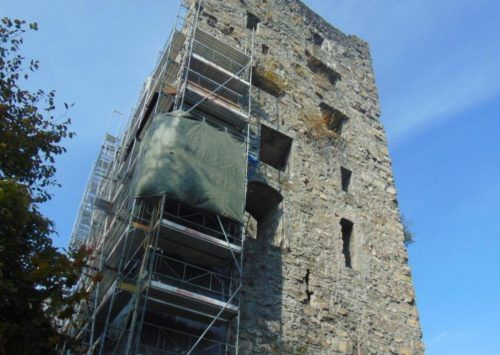 In den letzten Tagen wurden die Sanierungsmaßnahmen an der Burgruine Neu-Montfort wieder aufgenommen.Mäser