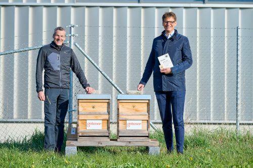 Ländle Imker Daniel Berger und Getzner Textil Vorstandsvorsitzender Roland Comploj bei der feierlichen Übergabe der Bienenstöcke in der Bludenzer Gerberstraße.M. Hagen