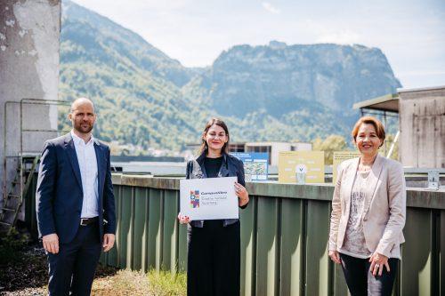 Landesrat Marco Tittler, Projektleiterin Bettina Steindl und Bürgermeisterin Andrea Kaufmann. sams