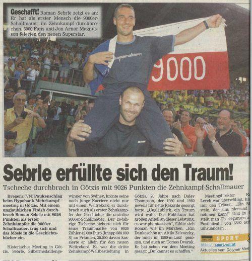 Leichtathletik-König Roman Sebrle zeigt: Die Zehnkampf-Schallmauer ist gefallen.VN/Shourot