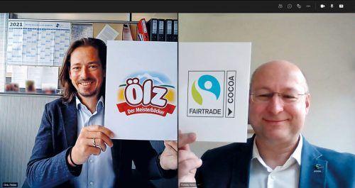 """Ölz-Geschäftsführer Florian Ölz und Fairtrade-Geschäftsführer Hartmut Kirner im VN-Gespräch: """"Bekenntnis zu Menschlichkeit und Gerechtigkeit.""""FA/Kuntner"""