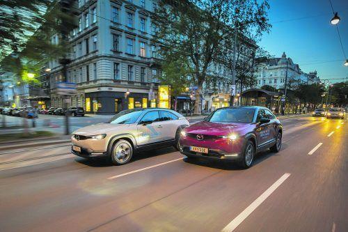 Um die Wette fahren einmal anders: Mit dem vollelektrischen Mazda MX-30 möglichst sanft und vorausschauend.Mazda