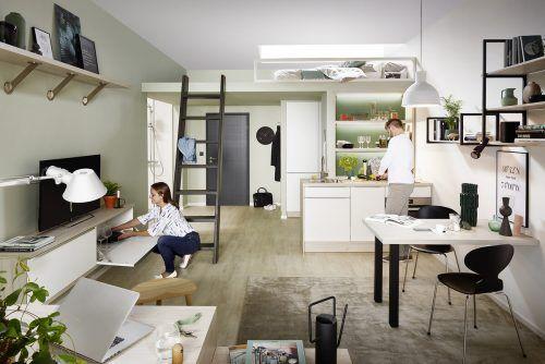 Viel Komfort auf wenigen Quadratmetern veranschaulicht dieses klare Stauraum- und Einrichtungskonzept. Die Mini-Küche ist top ausgestattet.AMK