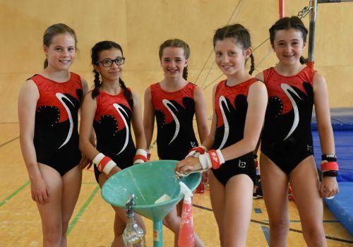 Am 19. Juni fand in der VS Montfort die Vereinsmeisterschaft der Kunstturnerinnen der TS Rankweil statt. Hier im Bild die U11-Mädchen.Steidl