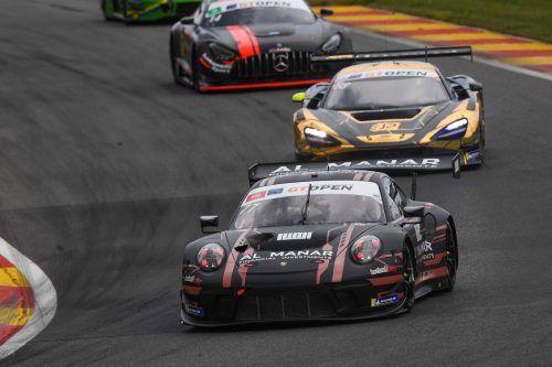 Andy Soucek im Lechner-Porsche und Christian Klien im JP-McLaren beim GT3-Serie-Rennen in Spa.JPM