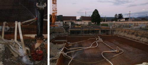Bei der Anlage Im Steinach mit 24 Wohnungen ist die Vogewosi damit beschäftigt, das Grundwasser in den Griff zu bekommen.