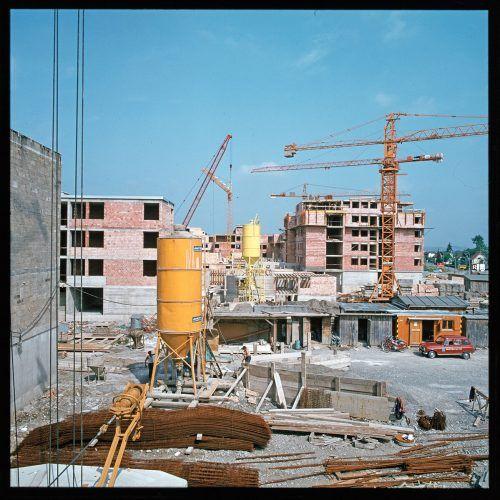 Bregenz, Baustelle Siedlung an der Ach, 1975