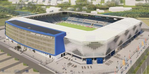 """Das Fußballstadion """"Ernst-Abbe-Sportfeld"""" in Jena wird derzeit komplett umgebaut und modernisiert. typico"""