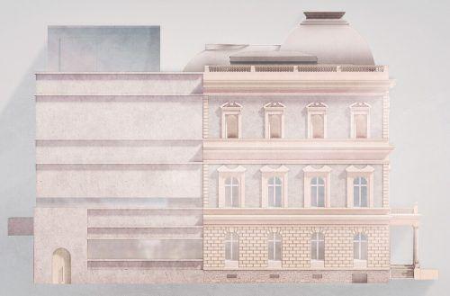 Der historistische Gebäudeteil wird durch ein monolithisches Passstück ergänzt. Marte.Marte