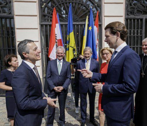 Der Schweizer Außenminister Ignazio Cassis traf beim Europa-Forum Wachau auch mit Bundeskanzler Sebastian Kurz zusammen. APA