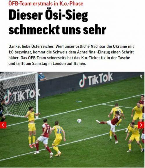"""Der Schweizer """"Blick"""" bedankte sich artig bei Österreich für den Sieg über die Ukraine."""